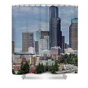 Seattle City Skyline At Rush Hour Shower Curtain