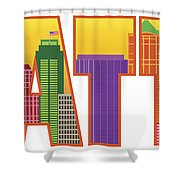Seattle City Skyline Text Outline Color Illustration Shower Curtain