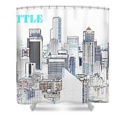 Seattle City With Print Shower Curtain