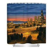 Seattle Cityscape After Sunset Shower Curtain