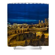 Seattle Downtown Skyline And Freeway At Twilight Shower Curtain