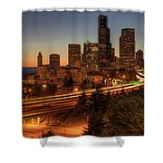 Seattle Downtown Skyline At Dusk Shower Curtain