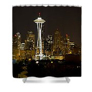 Seattle Downtown Skyline Evening Panorama Shower Curtain