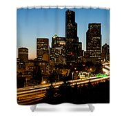 Seattle Downtown Skyline Evening View Shower Curtain