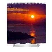 Seattle Fiery Sunset Shower Curtain