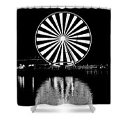 Seattle Great Wheel Black And White Shower Curtain