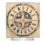 Seattle Mariners Poster Vintage Shower Curtain