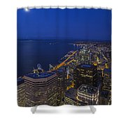 Seattle Moonset Glow Shower Curtain