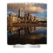 Seattle Pier Sunset Clouds Shower Curtain