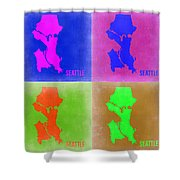 Seattle Pop Art Map 2 Shower Curtain