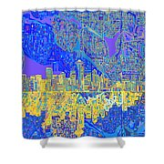 Seattle Skyline Abstract 6 Shower Curtain