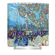 Seattle Skyline Abstract 7 Shower Curtain
