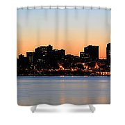 Seattle Skyline And Puget Sound At Sunrise Shower Curtain