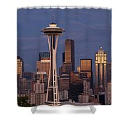 Seattle Skyline And Space Needle With City Lights Shower Curtain