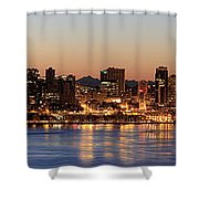 Seattle Skyline At Dawn Along Puget Sound Shower Curtain