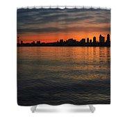 Seattle Skyline At Dawn Shower Curtain