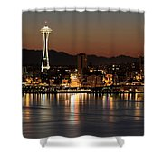 Seattle Skyline At Night By The Pier Panorama Shower Curtain