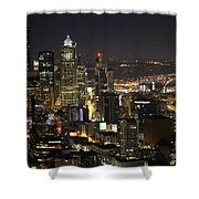 Seattle Skyline At Night Shower Curtain