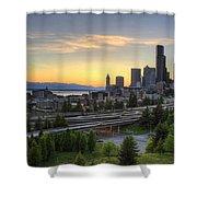 Seattle Skyline At Sunset Shower Curtain