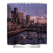 Seattle Skyline Bell Harbor Dusk Shower Curtain