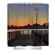 Seattle Skyline From The Pier At Sunrise Shower Curtain