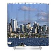 Seattle Skyline On Lake Union Shower Curtain
