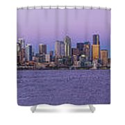 Seattle Skyline Panorama - Massive Shower Curtain