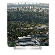 Seattle Skyline With Aerial View Of The Newly Renovated Husky St Shower Curtain
