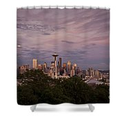 Seattle Skyline With Moonrise And Space Needle Shower Curtain