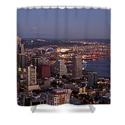 Seattle Skyline With Mount Rainier And Downtown City Lights Shower Curtain