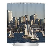 Seattle Skyline With Sailboats Shower Curtain