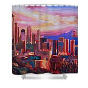 Seattle Skyline With Space Needle And Mt Rainier Shower Curtain