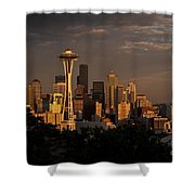 Seattle Skyline With Space Needle And Stormy Weather Shower Curtain