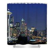 Seattle Skyline With Space Needle Shower Curtain