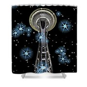 Seattle Space Needle Blue Stars Shower Curtain
