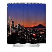Seattle Sunrise Panorama Shower Curtain