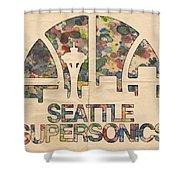 Seattle Supersonics Poster Vintage Shower Curtain