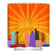 Seattle Washington City Skyline Panorama Shower Curtain