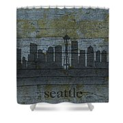 Seattle Washington City Skyline Silhouette Distressed On Worn Peeling Wood Shower Curtain