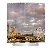 Seattle Waterfront Bathed In Golden Hour - Seattle Skyline - Puget Sound Washington State Shower Curtain