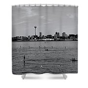 Seattle Waterfront Bw 2 Shower Curtain