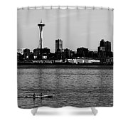 Seattle Waterfront Bw Shower Curtain