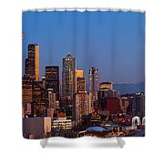 Seattle Winter Evening Panorama Shower Curtain