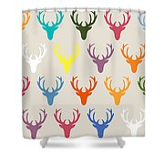 Seaview Simple Deer Heads Shower Curtain