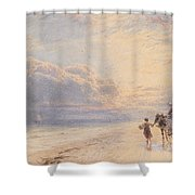 Seaweed Gatherers Shower Curtain by Myles Birket Foster