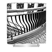 Second Floor In Black And White Shower Curtain