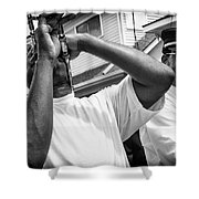 Second Line Black And White Shower Curtain