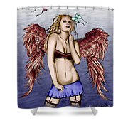Seductive Angel Colored Shower Curtain