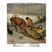 Seeing Off The Dead, 1865 Oil On Canvas Shower Curtain