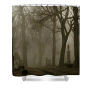 A Graveyard Seeped In Fog Shower Curtain